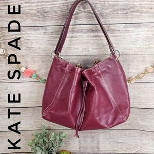 Kate Spade Leather Handbag Berry Drawstring  Purse